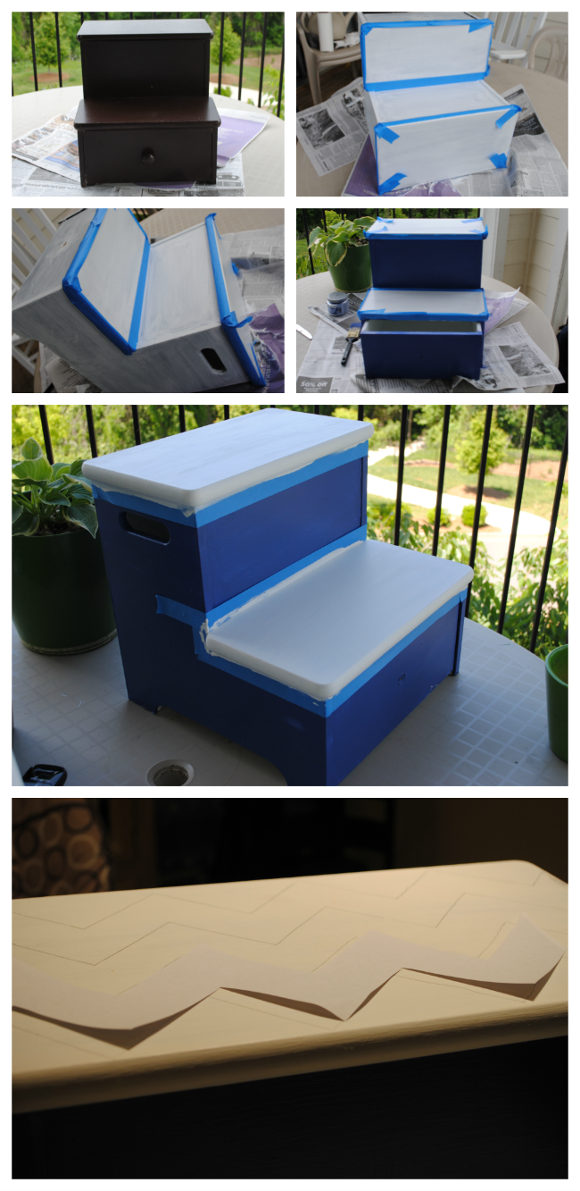 boy's personalized chevron painted step stool