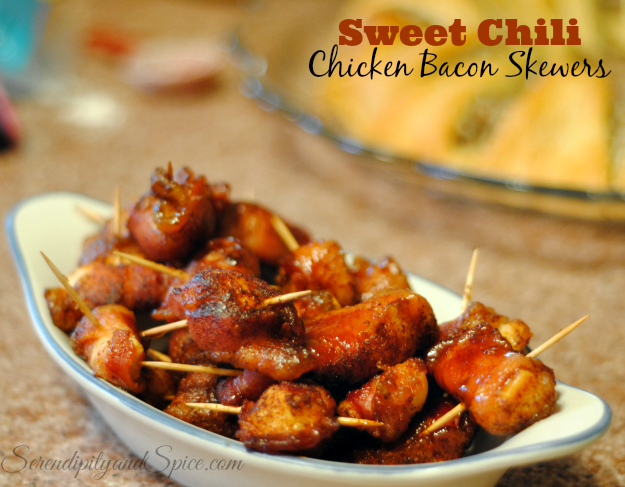 sweet chili chicken bacon skewers