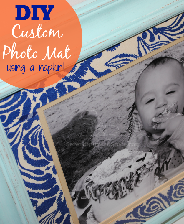 how to make your own custom photo mat using a napkin