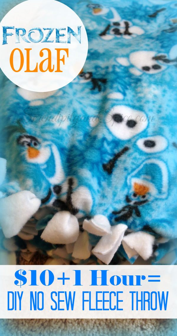 Frozen Olaf DIY No Sew Fleece Blanket $10