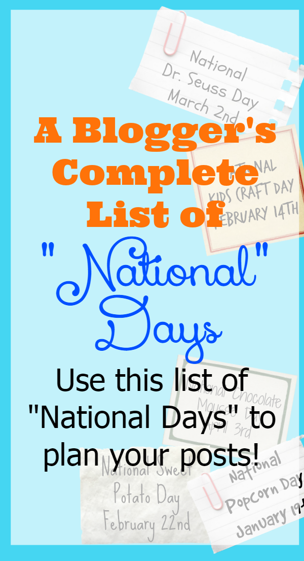 A Blogger's List to National Days