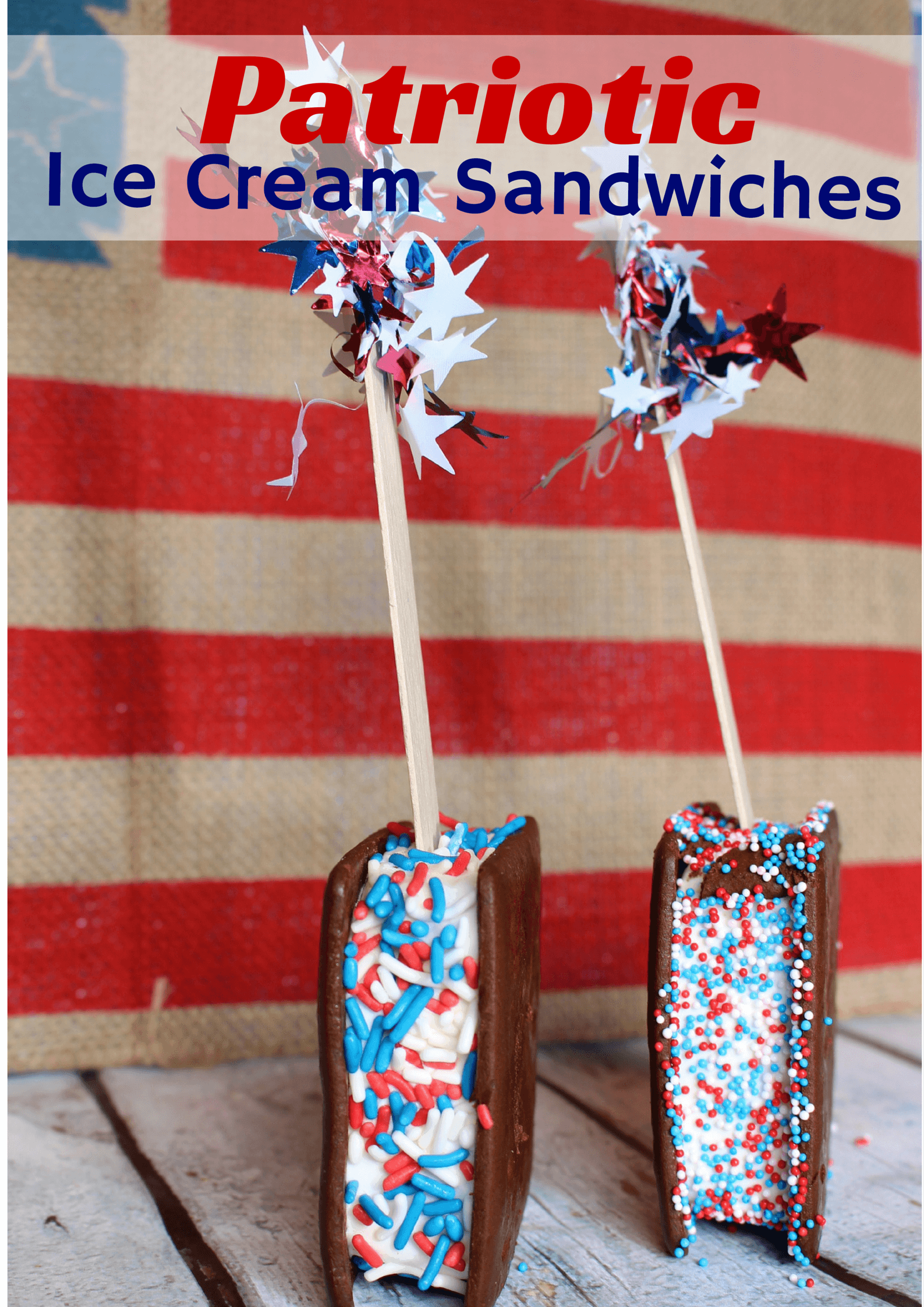 Easy Patriotic Ice Cream Sandwiches
