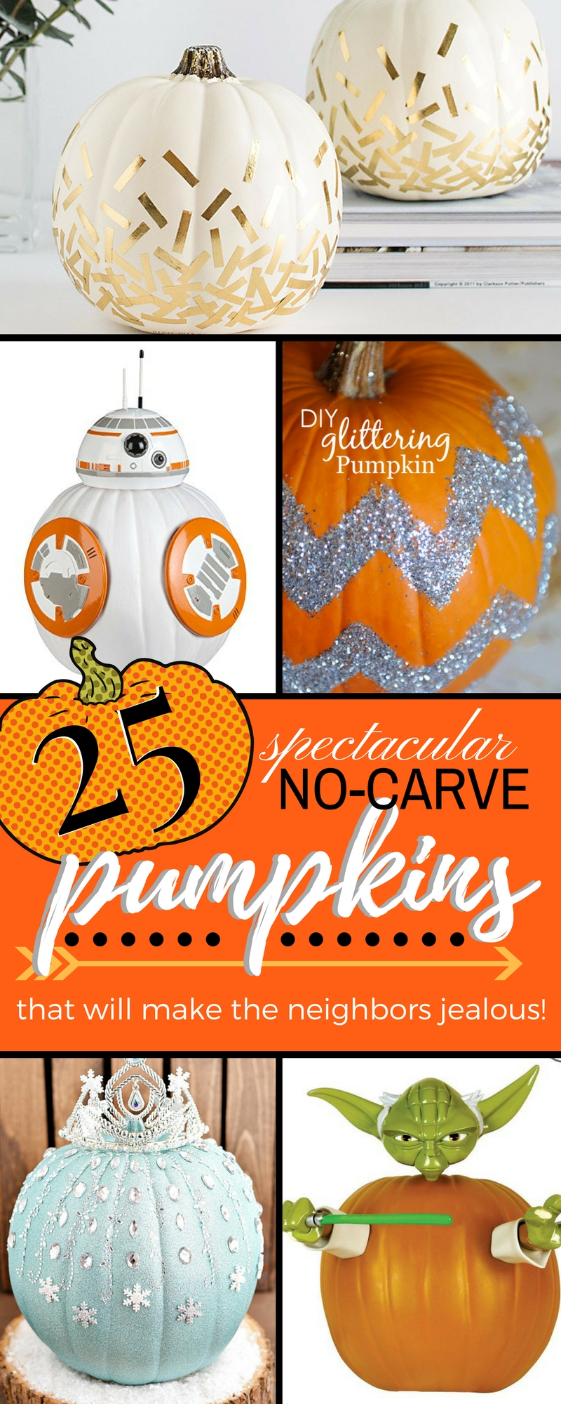 Carving pumpkins for Halloween is an age old tradition...but who is actually good at it?  I'm horrible at carving pumpkins so here's 25 fabulous ideas for no-carve pumpkins that are EASY, SPOOKY, and FUN!