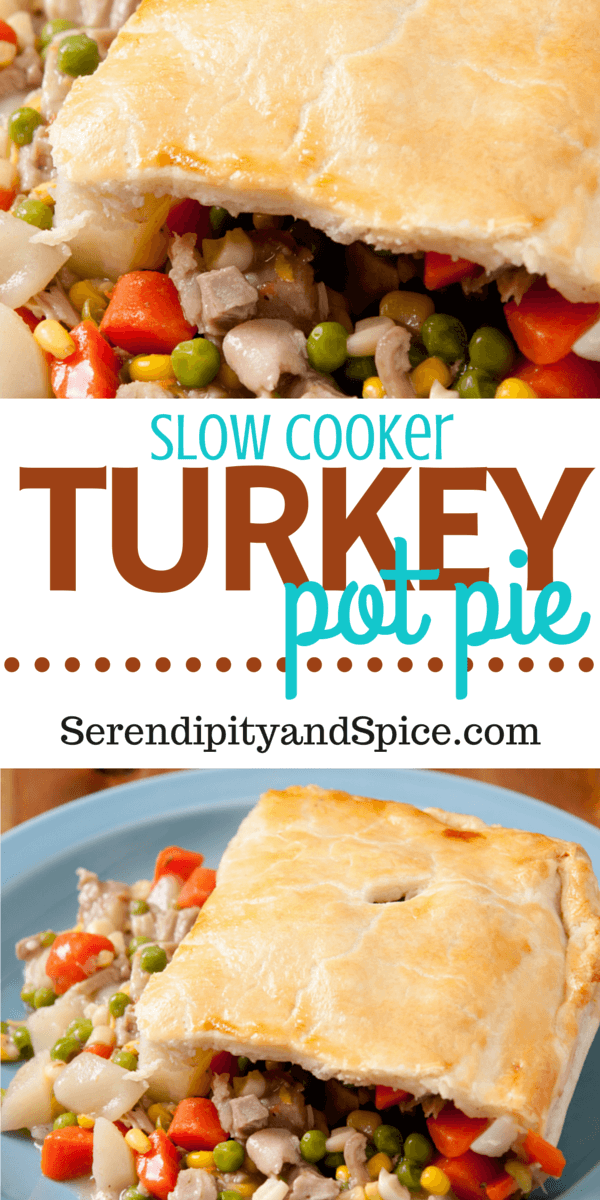 SLOW COOKER Turkey Pot Pie-- this recipe is perfect for a cold winter day or to use up holiday leftovers. Delicious comfort food!