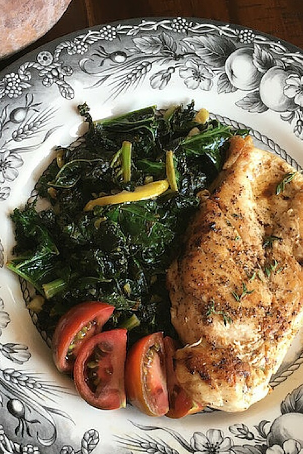 Sauteed Kale with Lemon Garlic Chicken Recipe