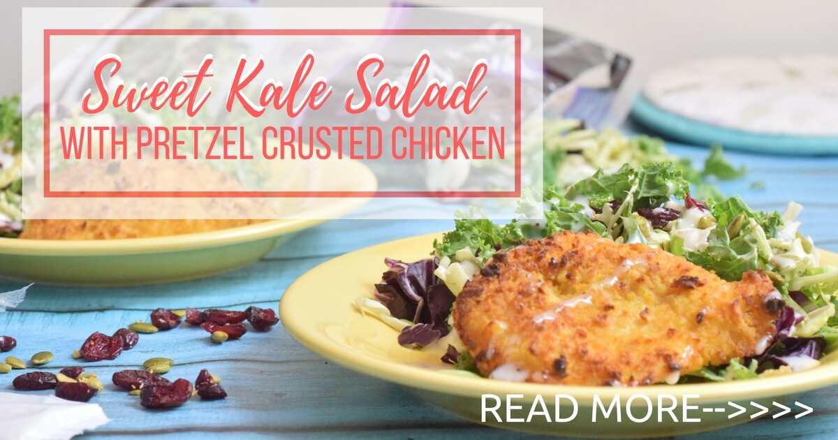 Sweet Kale Salad with Pretzel Crusted Chicken
