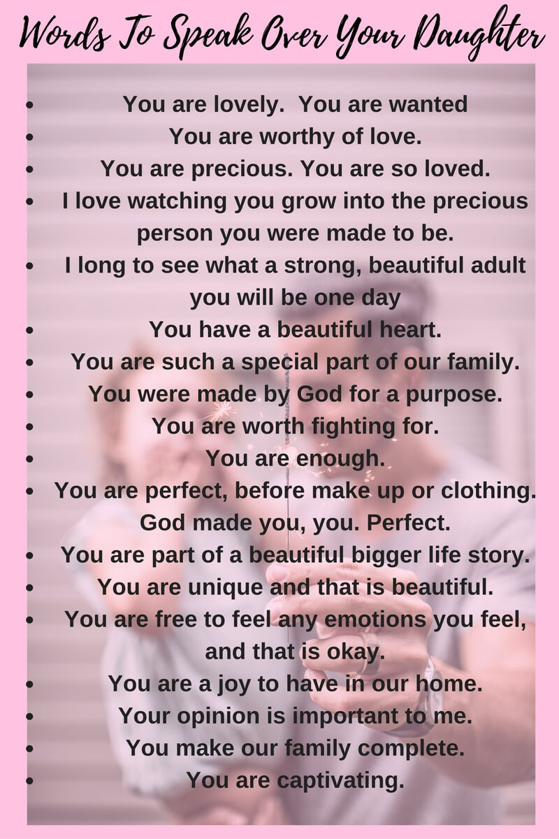 Words To Speak For Your Daughter