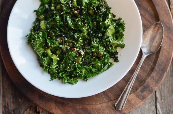 Stir Fried Garlicky Kale with Toasted Sesame Seeds