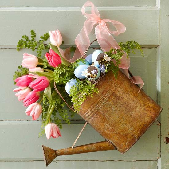 Check out these adorable spring wreaths that will brighten your door! Perfect for Easter decorating.