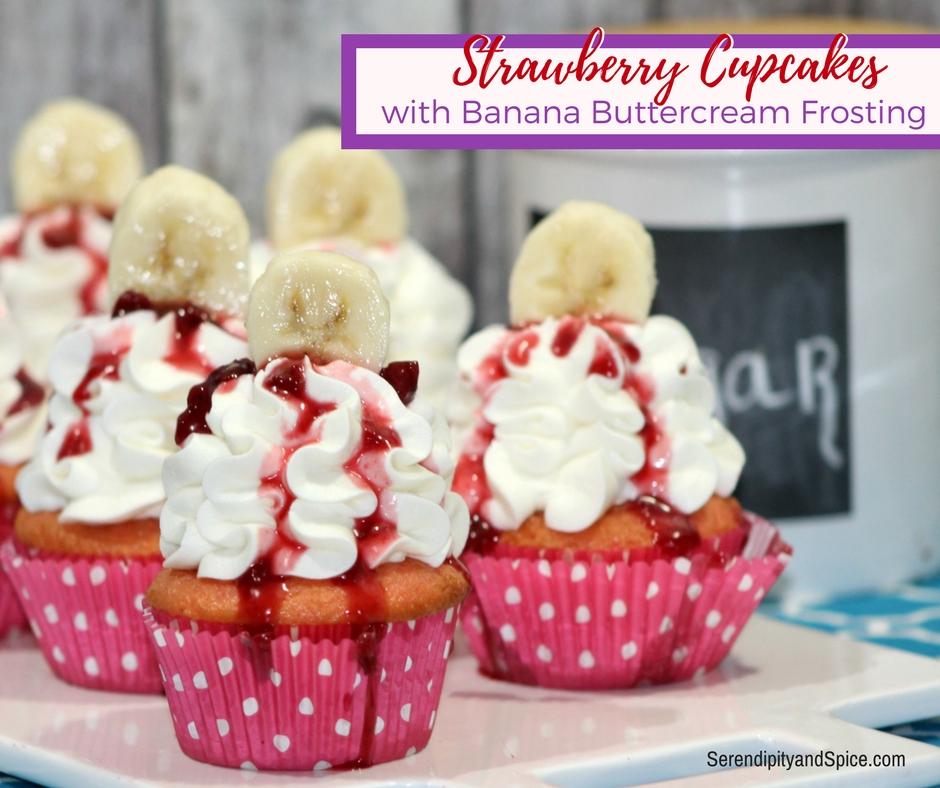 Strawberry Cupcake Recipe with Banana Buttercream Icing