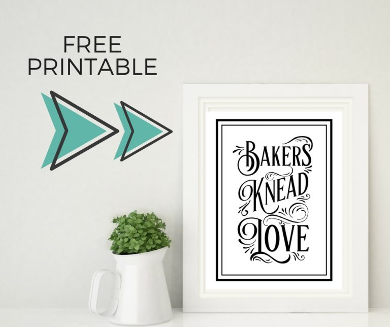 Bakers Knead Love Free Printable