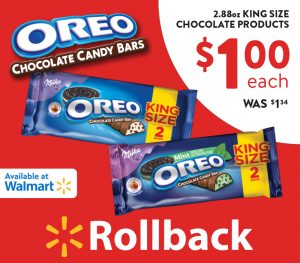 OREO Chocolate King Size Candy Bars on Walmart Rollback