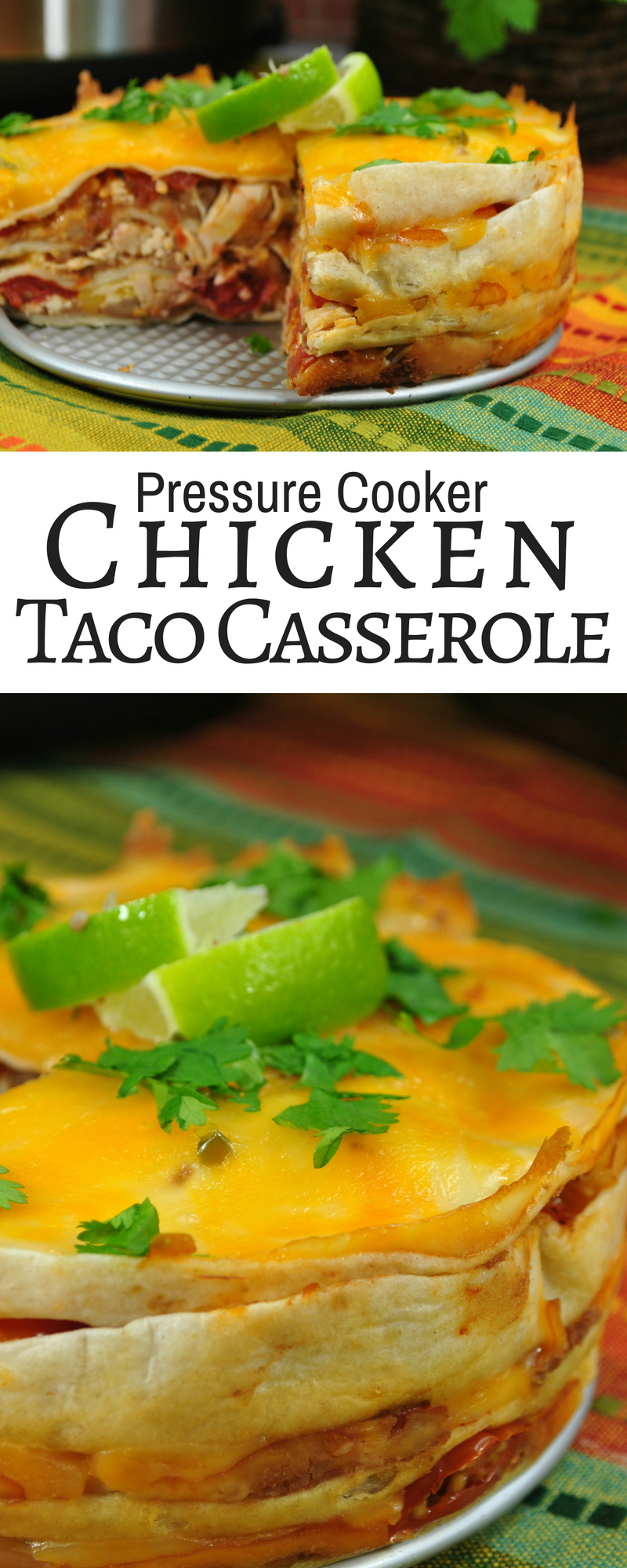 This pressure cooker chicken taco casserole is an easy recipe for those busy nights! One of our absolute favorite pressure cooker chicken recipes is this chicken taco casserole...the kids gobble it up every time!