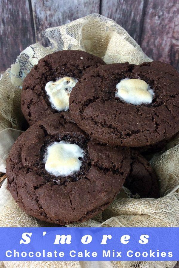 Smores Chocolate Cake Mix Cookies