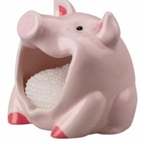 Pig Scrubby Holder & Non-scratch Dish Scrubber, Hand Painted Ceramic by Boston Warehouse (75110)