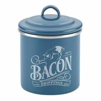 Ayesha Collection Enamel on Steel Bacon Grease Can, 4-Inch by 4-Inch, Twilight Teal