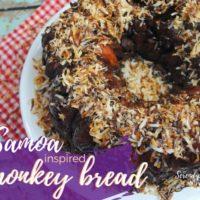 Samoa Monkey Bread Recipe - Chocolate Caramel Coconut Monkey Bread