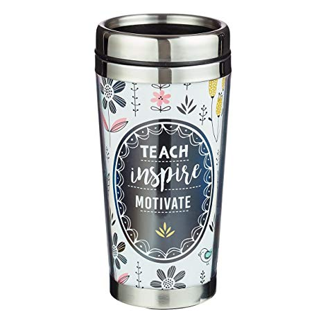 Teach Inspire Motivate Black Travel Coffee Mug